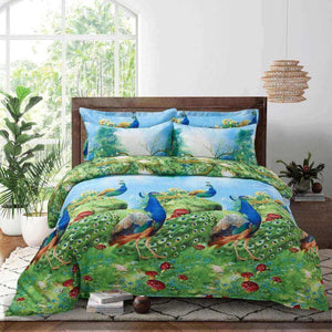 Peacocks by the Lake Duvet Cover Bedding Set Queen or King Designer Ensemble Blue & Green