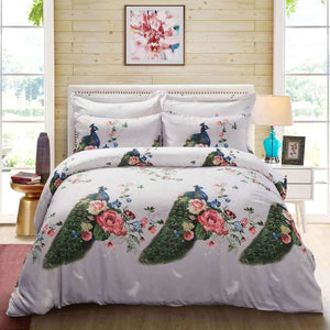 Peacock & Flowers Duvet Cover Bedding Set Queen or King Designer Ensemble