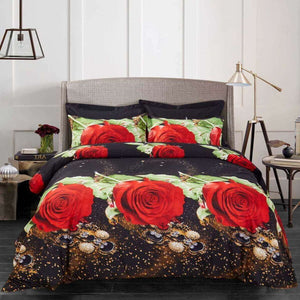 Red Rose Black Floral Duvet Cover Bedding Set Queen or King Designer Ensemble