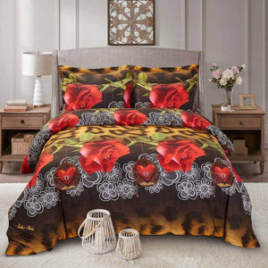 Red Rose Black Cheetah Print Duvet Cover Bedding Set Queen or King Designer Ensemble