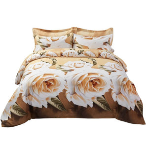 White Rose Print Floral Duvet Cover Bedding Set Queen or King Cream & Brown Designer Ensemble