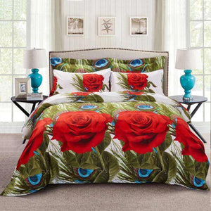 Red Rose & Peacock Feathers Duvet Cover Bedding Set Queen or King Designer Ensemble