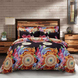 Black Mandala Floral Duvet Cover Bedding Set Queen or King Designer Ensemble