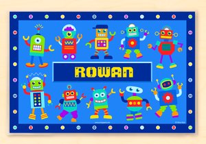 "Robots Personalized Placemat 18"" x 12"" with Alphabet"