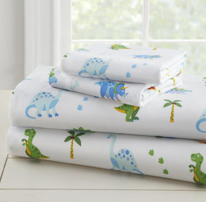 Dinosaur Land Kids Bed Sheet Sets & Pillowcases Crib Toddler Twin Full Cotton or Microfiber
