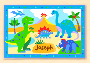 "Dinosaur Land Kids Personalized Placemat 18"" x 12"" with Alphabet"