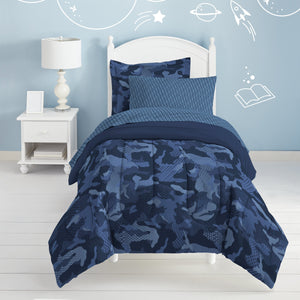 Blue Camouflage Bedding Twin or Full Teen Boy Bed in a Bag Comforter Army Camo Set