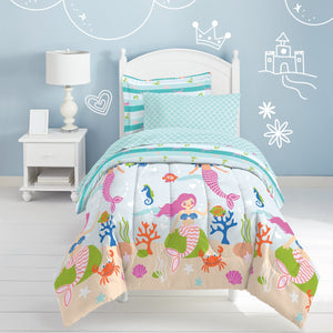 Mermaid Dreams Girl Bedding Twin or Full Comforter Set Bed in a Bag Ensemble