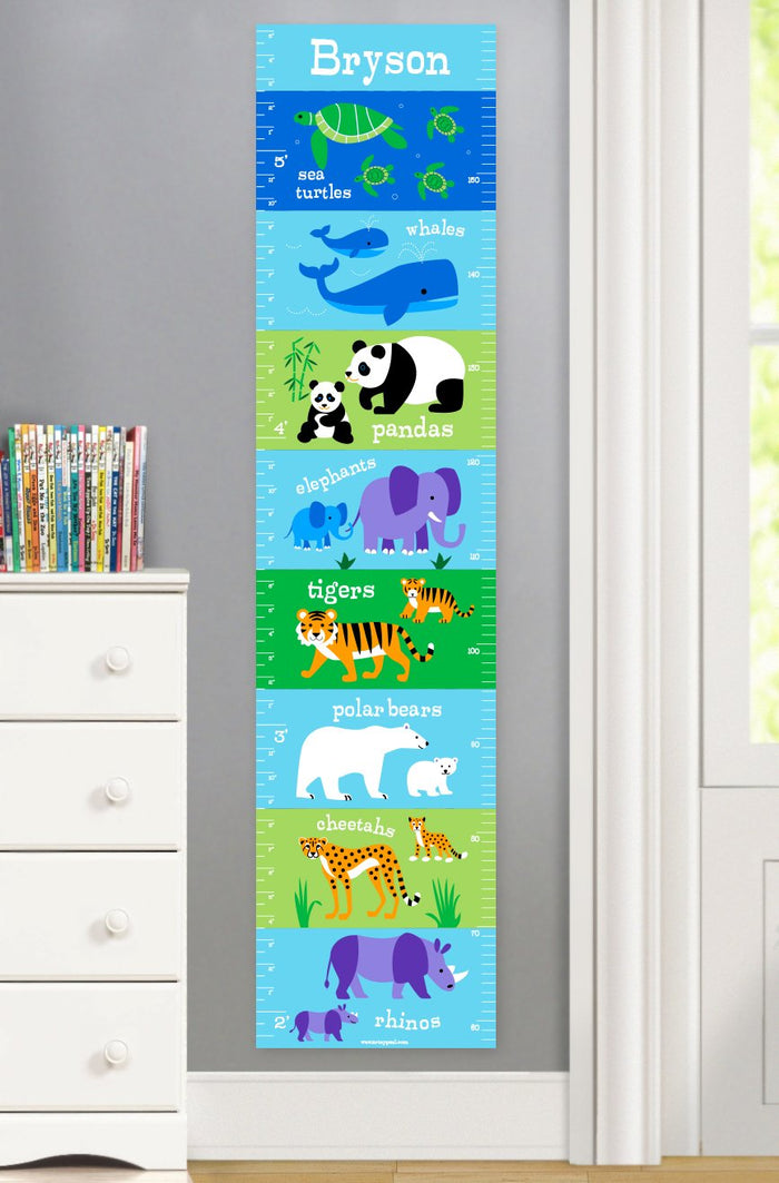 Endangered Wild Animals Personalized Kids Height Growth Chart Self-Adhesive or Canvas