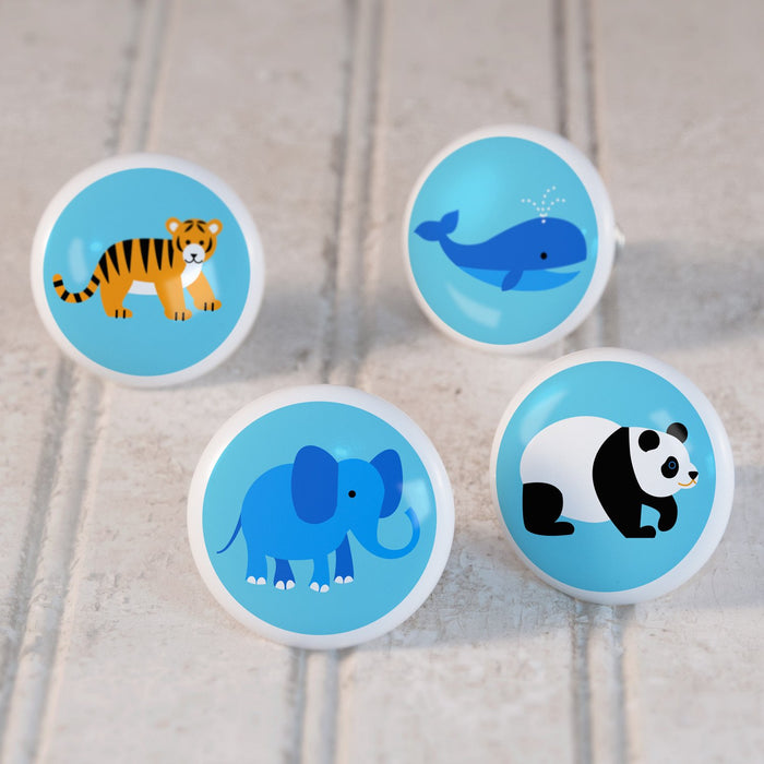 "Endangered Animals 4pc Ceramic Kids Drawer Knob Set 1 1/2"" - Tiger Whale Panda Elephant"