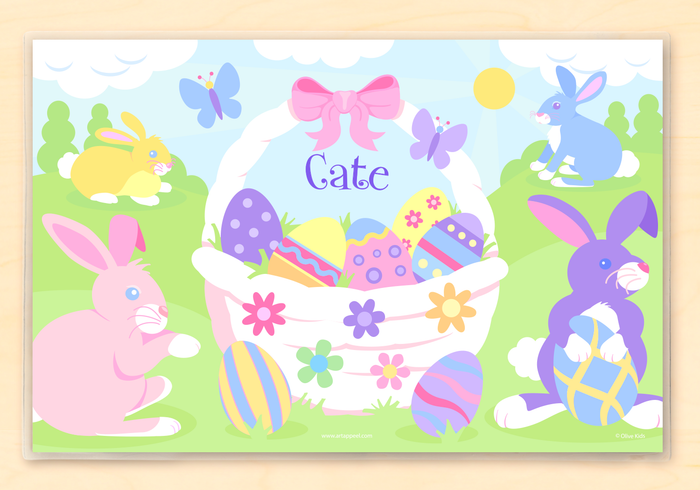 "Easter Basket Personalized Placemat  Girl Boy 18"" x 12"" with Alphabet"