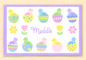 "Easter Chicks & Eggs Personalized Placemat 18"" x 12"" with Alphabet"