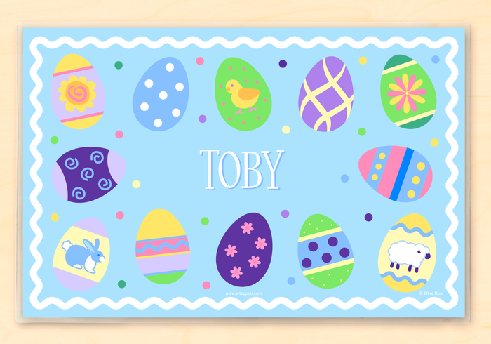 "Easter Eggs Blue or Pink Personalized Placemat 18"" x 12"" with Alphabet"
