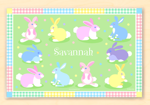 "Colorful Easter Bunnies Personalized Placemat 18"" x 12"" with Alphabet"
