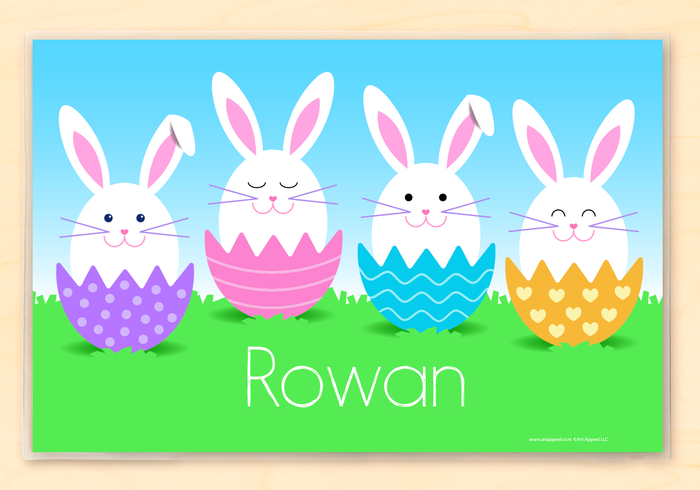 "Easter Bunnies & Eggs Personalized Placemat 18"" x 12"" with Alphabet"