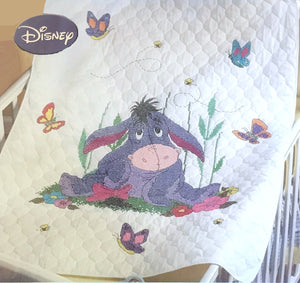 "Disney Winnie The Pooh Eeyore Donkey Counted Cross Stitch Stamped Keepsake Baby Nursery Crib Quilt Kit 34"" x 43"""