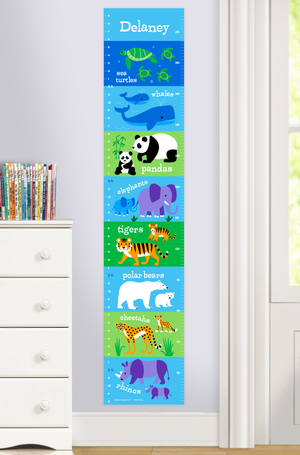 Endangered Animals Self-Adhesive Growth Chart