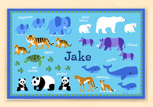 "Endangered Wild Animals Personalized Placemat 18"" x 12"" with Alphabet"