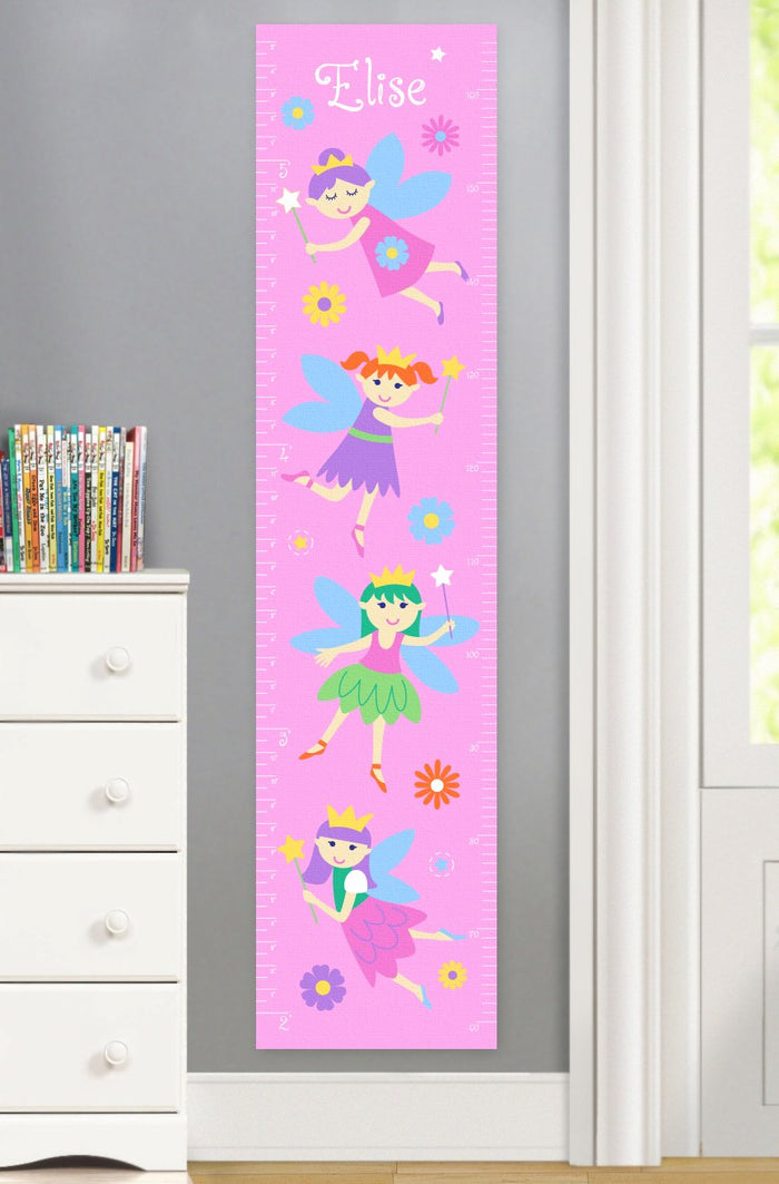 Fairy Princess Pink Height Personalized Growth Chart Self-Adhesive or Canvas