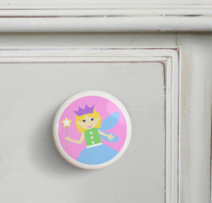 Pink Fairy Princess 4pc Ceramic Kids Drawer Knob Set 1 1/2""