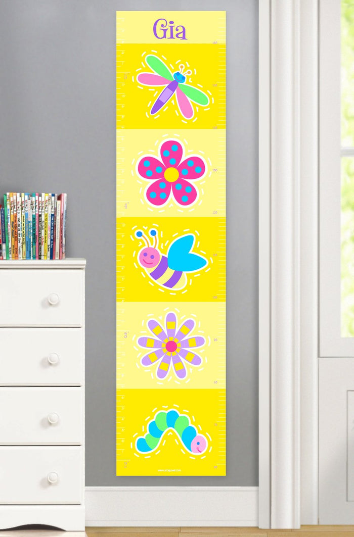 Yellow Flowers & Bugs Personalized Kids Canvas Height Growth Chart