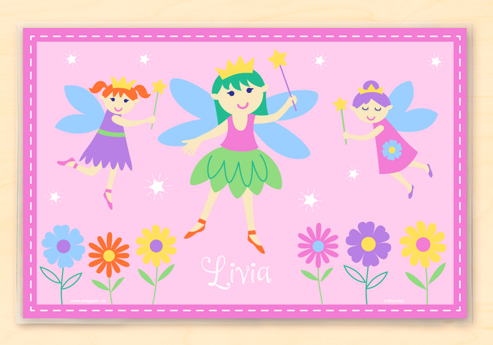 "Fairy Princess Pink Kids Personalized Placemat 18"" x 12"" with Alphabet"