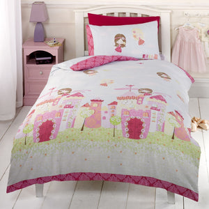 Princess Fairy Castle Girl Bedding Toddler Twin Full Pink Green Duvet Cover / Comforter Cover Set