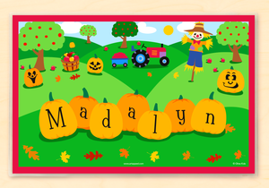 "Fall Pumpkins & Scarecrow Personalized Placemat 18"" x 12"" with Alphabet"