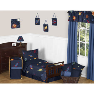 Space Galaxy Toddler Bedding 5pc Bed in a Bag Comforter, Sham & Sheet Set
