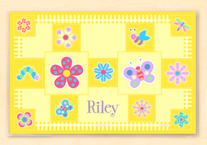 "Flowerland Butterflies Personalized Placemat 18"" x 12"" with Alphabet"