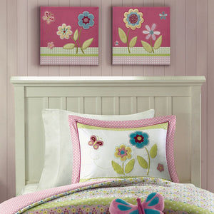Mi Zone Kids Spring Bloom Embroidery 2-Piece Pink Canvas Wall Art - Flower Power Daisy Flowers
