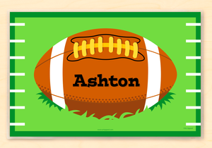 "Football Personalized Placemat 18"" x 12"" with Alphabet"