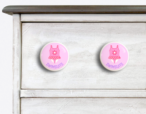 "Girl's Swimsuit 2"" Ceramic Drawer Knob - Set of 2"