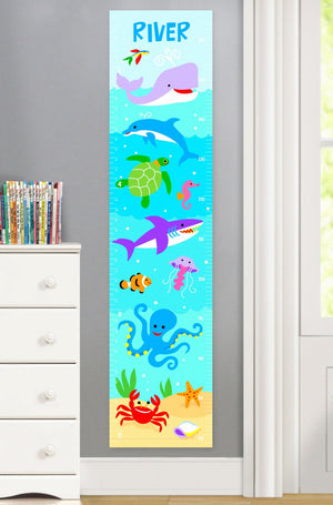 Ocean Sea Fish Canvas Growth Chart