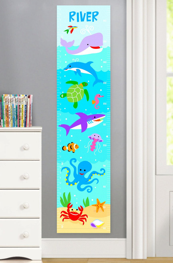 Ocean Sea Fish Personalized Kids Height Growth Chart - Whale Dolphin Shark Octopus