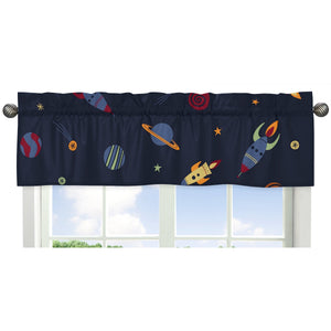 Space Galaxy Rockets Planets Window Valance
