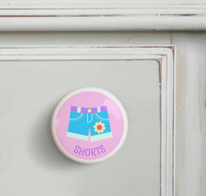 Girl's Shorts Ceramic Drawer Knob 2""