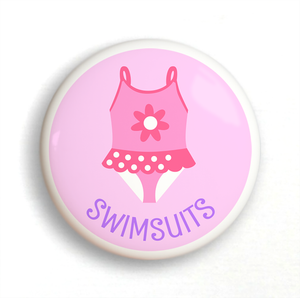 Girl's Swimsuit Ceramic Drawer Knob 2""