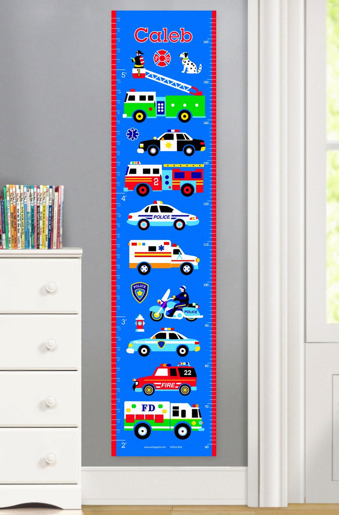 Fire Truck Police Car Ambulance Rescue Heroes Personalized Height Growth Chart Self-Adhesive or Canvas