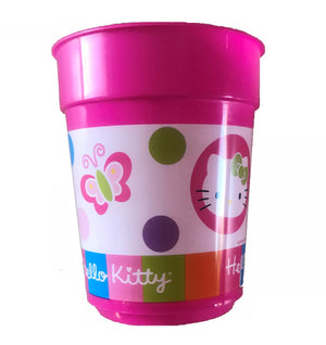 Hello Kitty Party Pink Plastic Cup Rainbow Striped Flowers & Butterfly