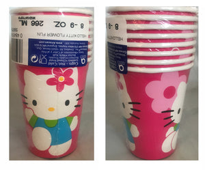 Hello Kitty Flower Fun Pink 9oz Hot/Cold Party Cups 8 CT