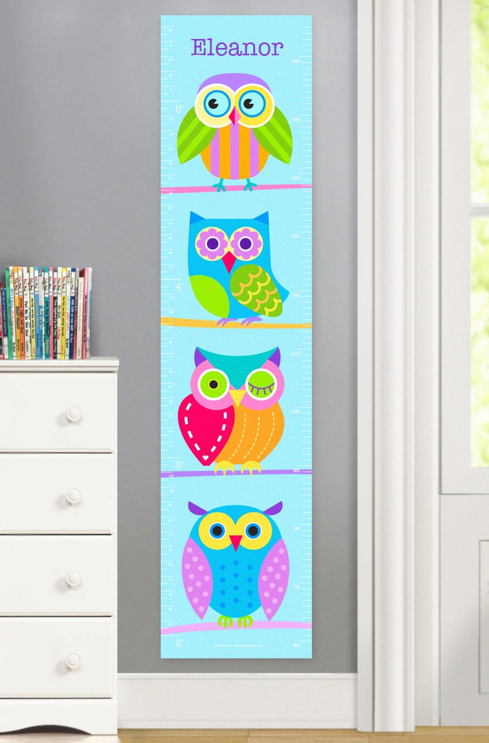 Hooty Owl Blue Personalized Height Growth Chart Canvas or Self-Adhesive