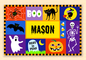 "Halloween Boo Personalized Placemat 18"" x 12"" with Alphabet"