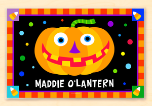 "Halloween Jack O' Lantern Silly Pumpkin Personalized Placemat 18"" x 12"" with Alphabet"
