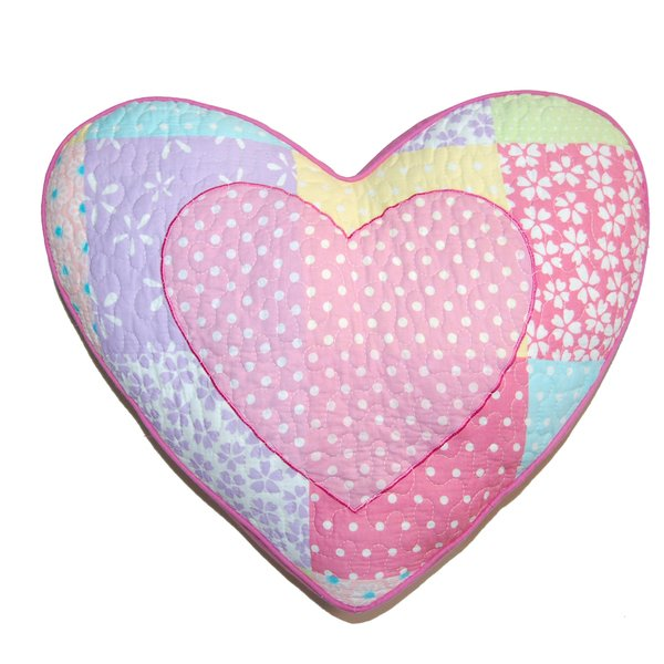 "Pink Polka Dot Heart-Shaped Decorative Throw Pillow Cotton 17"" x 15"""