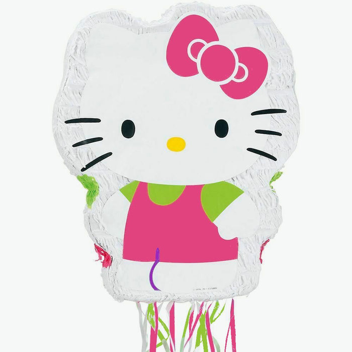 "Hello Kitty Pull String Party Pinata 22"" x 17"" with Ribbons"