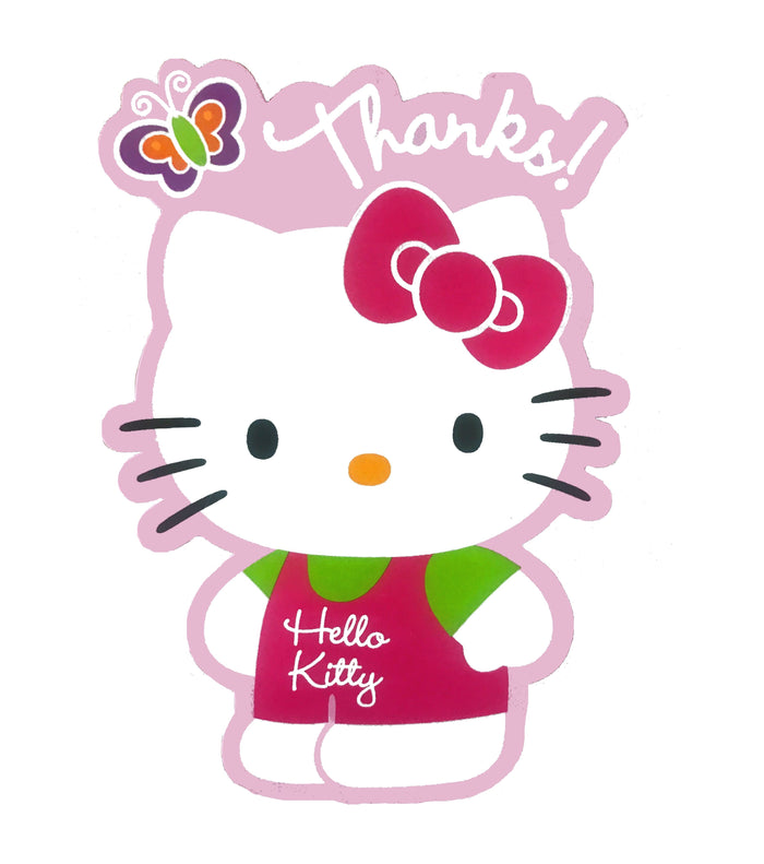Hello Kitty Party Die Cut Thank You Cards 8 CT