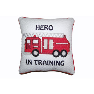 Hero in Training Fire Truck Kids Throw Decorative Pillow