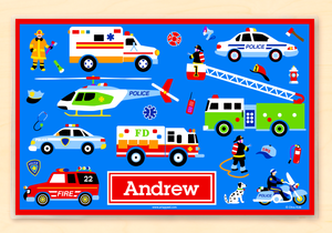 "Rescue Heroes Police Fire Truck Ambulance Personalized Placemat 18"" x 12"" with Alphabet"