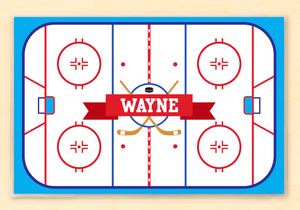 "Hockey Rink Personalized Placemat 18"" x 12"" with Alphabet"